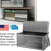 Foldable Home Closet Organizer Storage Bag Clothes Quilt Blanket Zipper Box 1PC