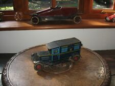 RARE WELLS POLICE VAN 1930 VINTAGE TINPLATE CLOCKWORK TIN CHARMING CAR TOY TRUCK
