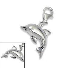925 Sterling Silver - '3D CZ DOLPHIN'  - Clip On Charm fits link bracelet