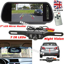 "Car Revers Rear View Kit 7"" LCD Mirror Monitor+7LEDs IR Reversing Parking Camera"