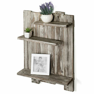 MyGift 3 Tier Rustic Torched Wood Pallet Style Wall Mounted Display Shelf Rack