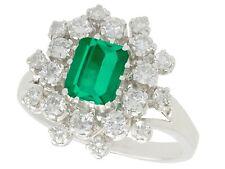 Vintage 1.24 ct Emerald and 1.15 ct diamond 14Carat White Gold Dress Ring