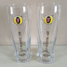 2 X Fosters Lager Pint Glasses Official Toughened Nucleated