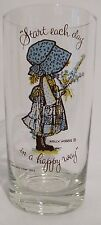HOLLY HOBBIE American Greetings Corp 1972 Vintage Kitchen Water Glass HAPPY WAY