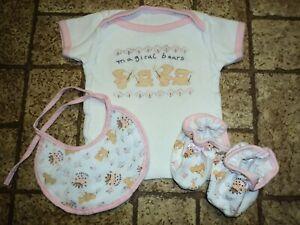 Vintage Cutie Pie Baby Shirt / Bib / Booties. Sz. 0-3 Mos.