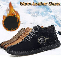 Men's Winter Snow Cotton Ankle Boots Hand Stitching Shoes High Top Sneakers