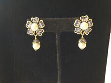 Crtsal Flower Pirced Earrings No Res Signed Heidi Daus Pearl &Shades Of Blue