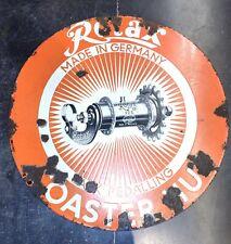 Vintage Rotax Coaster Hub Pedaling Advertise Enamel Porcelain Sign Board Germany