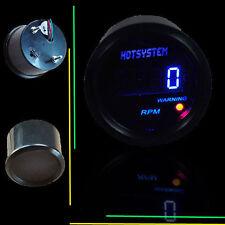 "BLACK 2"" 52mm BLUE DIGITAL LED READOUT 0-9999 RPM TACHOMETER TACHO GAUGE SL14"
