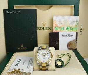 ROLEX 36mm 18kt Gold & Stainless Steel DateJust White Diamond 116233 SANT BLANC