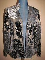 Chico's Bronze Black Velvet Textured Damask Pattern Open Jacket Size 1 (M) 8/10