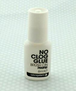 NO CLOG NAIL GLUE - Brush On - TIPS, SILK , FIBRE GLASS - 6ml - Salon systems