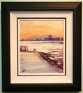 Irish Art Original Oil Painting CARRICKFERGUS CASTLE, IRELAND by STEPHEN MCCLEAN