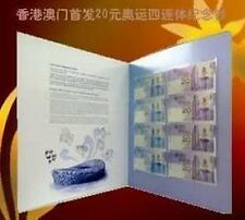China (Hong Kong & Macau) Olympic 2008 $20 banknote 4in1 Uncut (UNC) with folder