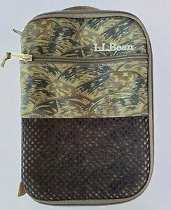 LL Bean Lunch Bag Zip Around Insulated Outside Pocket Green Khaki Print Logo