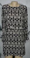 H & M Black Beige Patterned Dress 6 Bracelet Length Sleeves Lined Front Bodice