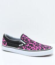 Vans Classic Slip-On Pink & Black Leopard Men's 11 Skate Shoes New