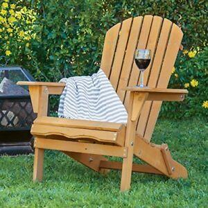 Outdoor Wood Adirondack Chair Foldable Patio Lawn Deck Garden Furniture