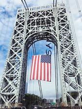 PHOTO of GEORGE WASHINGTON BRIDGE NYC NEW YORK USA w AMERICAN FLAG - Patriotic