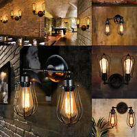 Vintage Industrial Lights Lamps Covers Wall Mounted Rustic Fixture Black Cage UK
