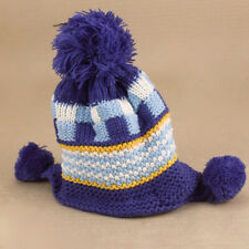 9a87d172 Blue Woolly Knitted Beanie Fleece White Lining Toddler Baby Girls Boys Pom  Poms