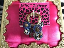Betsey Johnson Blue Vintage Hearts Crystal Gold Rose Beaded Cluster Stretch Ring