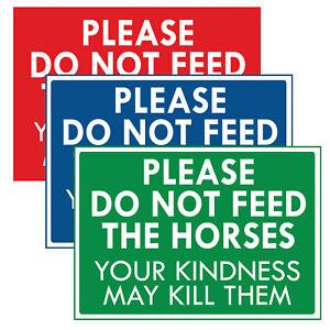 """""""PLEASE DO NOT FEED THE HORSES"""" METAL SIGN NO FEEDING MAY KILL THE HORSES SIGN"""