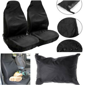 2x Waterproof Black Car Front Seat Protectors Covers Dirt Sweat Stain Protection