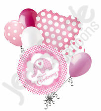 7 pc Baby Girl Christening Pink Elephant Balloon Bouquet Religious Celebration