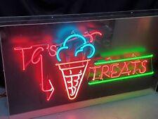 "Large Ice Cream Treats Neon Lighted Sign Lamp Acrylic 42""x24"" Hanging Decor Gift"