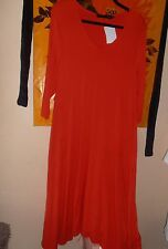 Join Clothes Jersey 3/4 Sleeve Asymetric Hem Dress with Tab Pockets Medium Coral