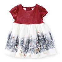 Christmas Dress Koala Baby Velour Winter Scene Size 0-3 M Discontinued Baby Girl