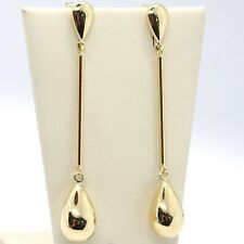 Drop Earrings Yellow Gold 750 18K, BAR And Drops, Made IN Italy