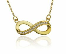 Gold Infinity Necklace - 925 Sterling Silver - Infinity Jewelry Forever Love NEW
