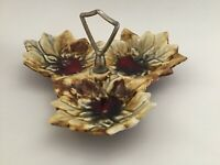 Marcia Of California Pottery Handled 3 Section Trinket Dish Candy Bowl Tray MCM