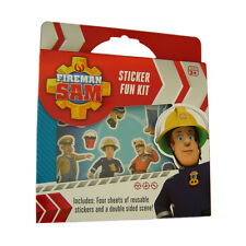 Licensed Fireman Sam Reusable Sticker Fun Kit with Double Sided Pontypandy Scene