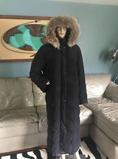 Anne Klein II Black Full Length Down Puffer Coat Raccoon Fur Hood Long Woman's L