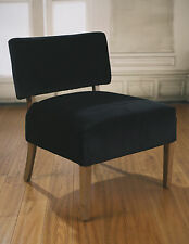 2 x Bedroom Chairs Soft Black Velvet French Provincial USA Oak Comfortable NEW
