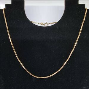 9ct Yellow Gold Box Chain Necklace 16.5 Inches Hallmarked