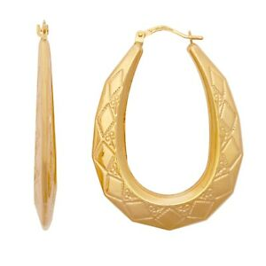 9ct Gold Oval Creole Earrings 2.3g *BRAND NEW*