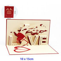 3D Pop Up Greeting Cards LOVE Wedding Birthday Valentines Anniversary Gift Thank