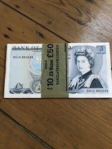 Twenty Old Five Pound Notes Duke Of Wellington Some Consecutives Unfolded