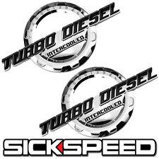 2 PC BLACK/CHROME TURBO DIESEL ENGINE MOTOR BADGE FOR TRUNK HOOD DOOR TAILGATE B
