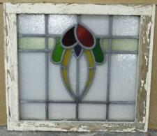 """OLD ENGLISH LEADED STAINED GLASS WINDOW Nice, Colorful Abstract 18.5"""" x 16.25"""""""
