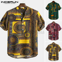 US STOCK Mens Short Sleeve Dashiki Floral Ethnic T Shirts Beach Holiday Top Tee