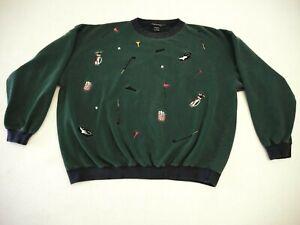 Lot#903 Vintage Golf Sweatshirt Green / Embroidered Graphics Made in Korea Sz XL