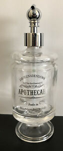 Bella Lux DR. H. GNADENDOFF Apothecary GLASS PEDESTAL Soap Dispenser SILVER NEW