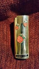 """""""Strawberries"""" Vintage Stainless Coral Inlay Bic Lighter Case"""