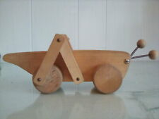 Vintage Wooden Rolling Grasshopper Cricket Made in Finland Push Toy Jukka