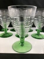 "🟢 Set of 8 RARE Bryce Elegant Glass Stem #20 Etch #515 Green Foot 5 1/2"" Goblet"
